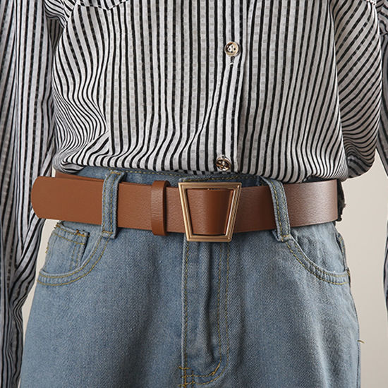Picture of Women's Jeans Belt One-loop Geometric Buckle Design Belt Accessory - Size: One Size