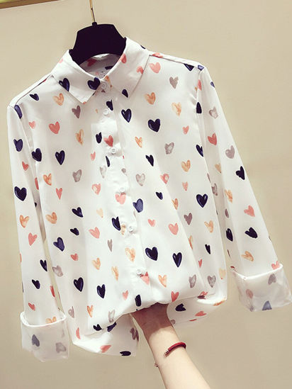 Picture of Women's Shirt Long Sleeve Button Loose Top - Size: M