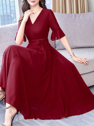 Picture of Women's Aline Dress V Neck Flare Sleeve Solid Color Maxi Long Dress - Size: XL