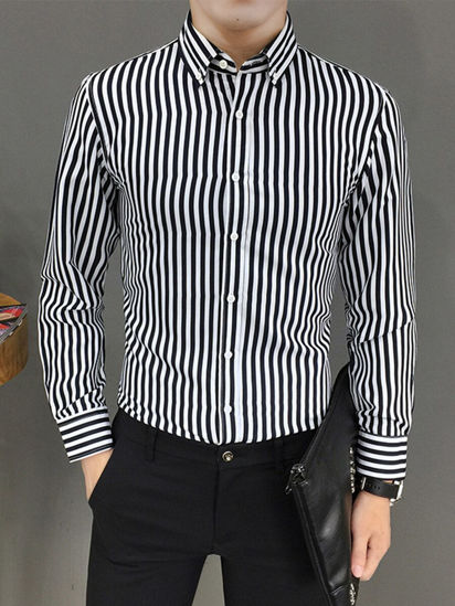Picture of Men's Shirt Striped Thin Slim Long Sleeve Turn Down Collar Top - Size: 4XL