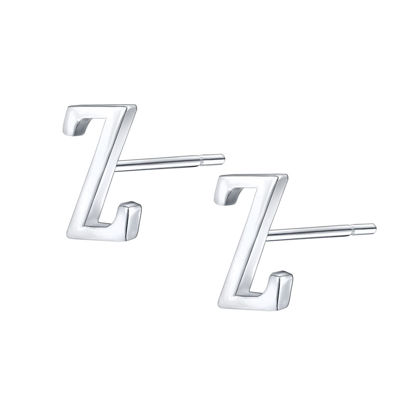 Picture of Women's Stud Earrings 925 Sterling Silver Tiny Initial Letter Z Stud Earrings - Size: One Size