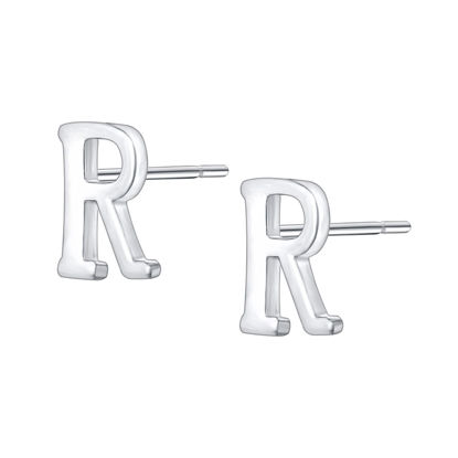 Picture of Women's Stud Earrings 925 Sterling Silver Tiny Initial Letter R Earrings - Size: One Size