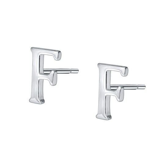 Picture of Women's Earrings 925 Sterling Silver Initial Letter F Stud Earrings Chic Accessory - Size: One Size