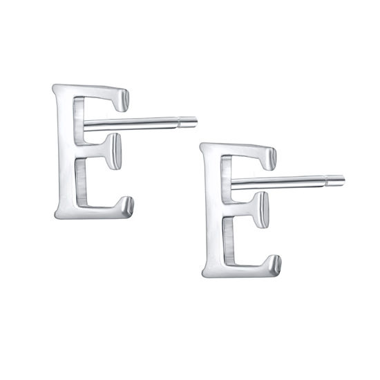 Picture of Women's Earrings 925 Sterling Silver Initial Letter E Stud Earrings Chic Accessory - Size: One Size
