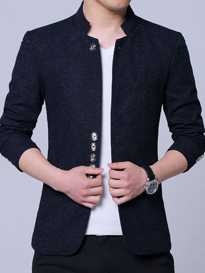 Picture of Men's Blazer Solid Color Long Sleeve Single Breasted Stand Collar Coat - Size: 5XL
