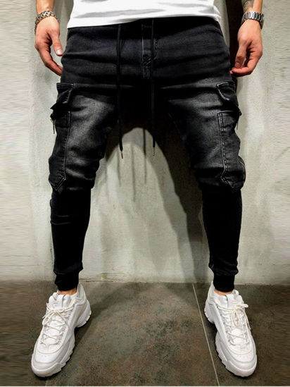 Picture of Men's Jeans Solid Color Casual Fashion Pants - Size: XL