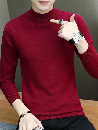 Picture of Men's Sweater Turtle Neck Solid Color Fashion Knitwear - Size: L