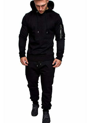 Picture of Men's 2Pcs Sports Clothing Set Long Sleeve Camouflage Hoodie Pants Suit - Size: 3XL