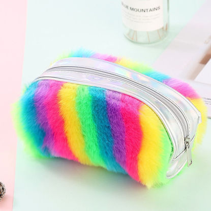 Picture of One Piece Case Rainbow Fluffy Student Pen Stationery -