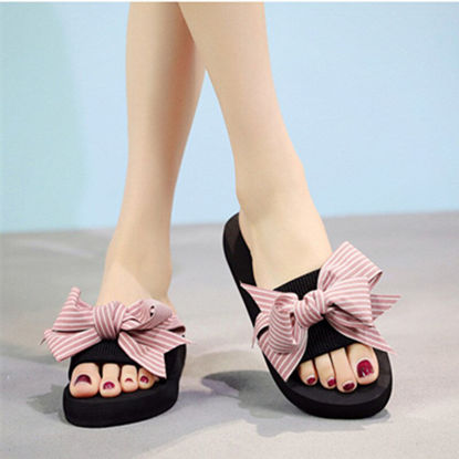 Picture of Women's Slippers Thin Stripes Bowknot Beach Slippers Household Slippers - Size: 40