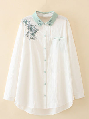 Picture of Women's Shirt Turn Down Collar Long Sleeve Embroidery Top - Size: 3XL