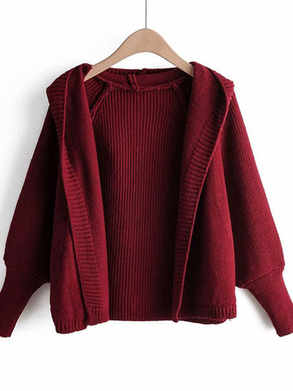 Picture of Women's Cardigan Fashion Solid Color Long Sleeve Knitwear - Size: Free