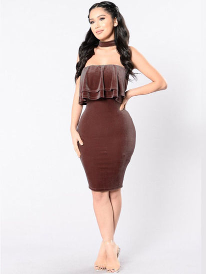 Picture of Women's Pencil Dress Sleeveless Solid Color Slim Dress - Size: S