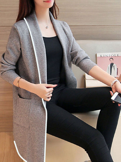 Picture of Women's Quilted Coat Loose Long Sleeve Solid Color Casual Coat - Size: L