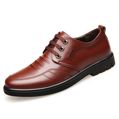 Picture of Men's Loafers Fashion Vintage Lacing Solid Color Shoes - Size: 38