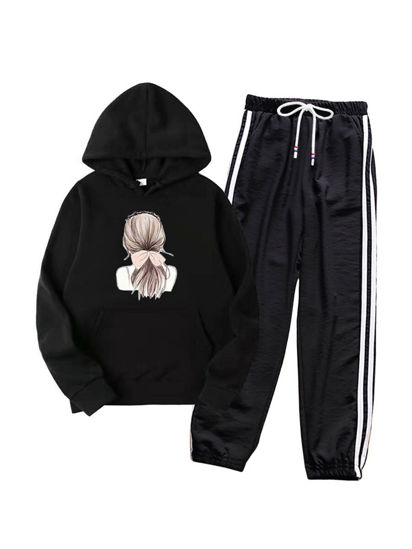Picture of Women's 2Pcs Figure Print Long Sleeve Hoodie Striped Harem Pants - Size: S
