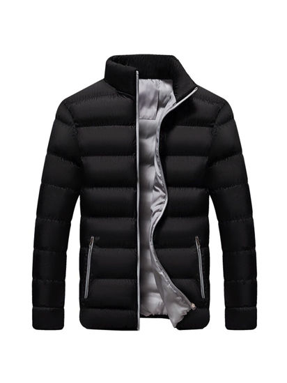 Picture of Men's Quilted Coat Long Sleeve Zipper Pocket Outerwear - Size: L