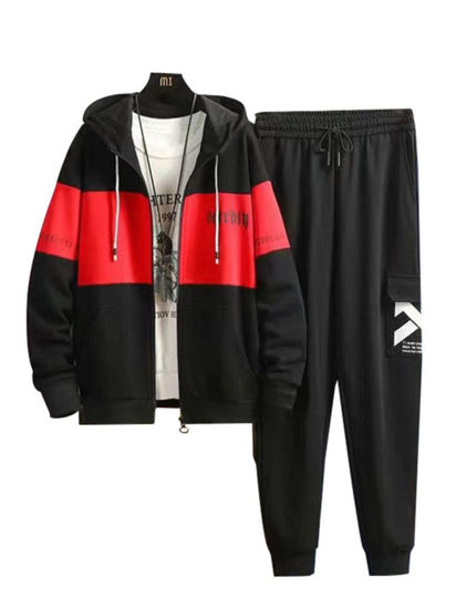 Picture of Men's 2Pcs Patchwork Zipper Jacket Print Casual Pants 2Pcs - Size: 3XL