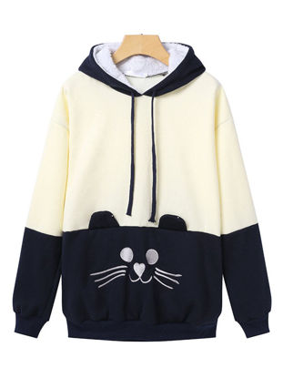 Picture of Women's Hoodie Fashion Loose Animal Pattern Patchwork Long Sleeve Hoodie - Size: XL