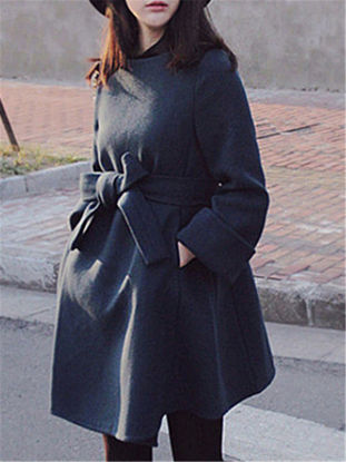 Picture of Women's Blend Lacing Pocket Solid Color Square Collar Coat - Size: XXL