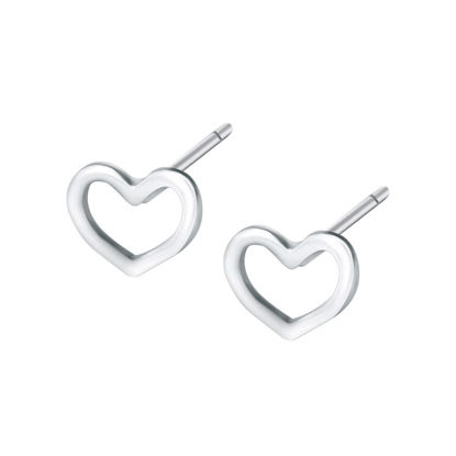 Picture of Women's Ear Studs 925 Sterling Silver Tiny Hollow Heart Stud Earrings Ladylike Accessory - Size: One Size