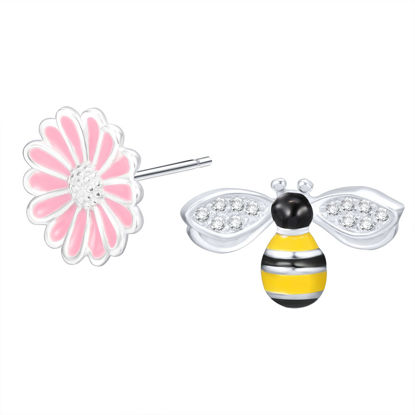 Picture of Women's Earrings 925 Sterling Silver Flower Bee Studs Earrings All Match Earrings - Size: One Size