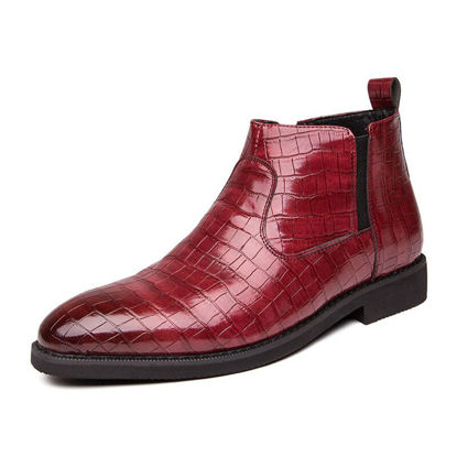 Picture of Men's Martin Boots Flat Business Pointed Toe Zipper Anti-Skidding Shoes - Size: 41