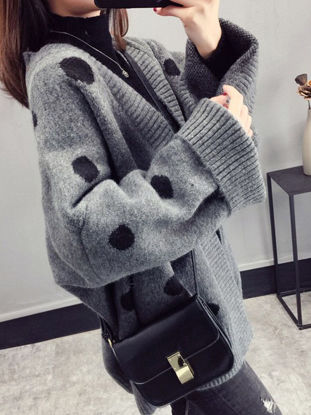 Picture of Women's Cardigan Fashion Long Sleeve Casual Loose Polka Dot Knitwear - Size: Free