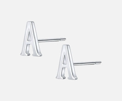 Picture of 1 Pair Women's Studs 925 Sterling Silver Chic Brief Initial Letter A Earrings Accessory - Size: One Size