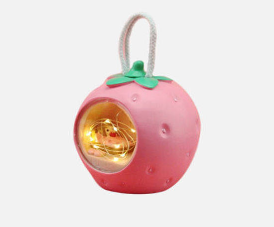 Picture of 1 Pc Strawberry Girl Micro Landscape Shiny Cartoon Decoration Home Decoration Girl's Gift - Size: One Size