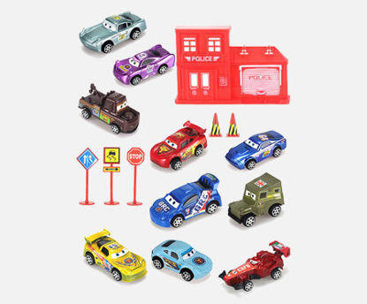 Picture of 16Pcs Kids Pull Back Racing Car Set Mini Collection Vehicle Toys Model Car