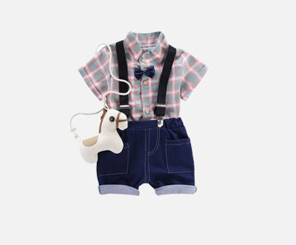 صورة 2Pcs Baby's Set Voguish Classic Plaids Pattern Comfy Shirt Overalls Suit