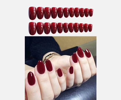 Picture of 24Pieces Women's Artificial Nails Solid Color Manicure Lovely Ladylike Nail Art -