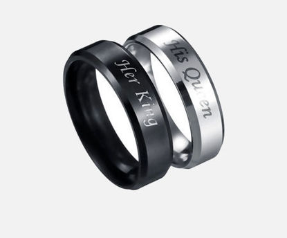 Picture of 2 Pcs Men's Ring Set Stainless Steel Letter Print Fashion Ring Set