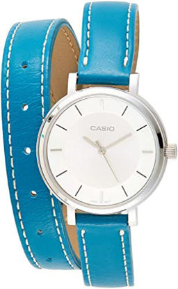Picture of Casio LTP-E143DBL-3A Women's Double Loop Green Leather Band White Dial Analog Watch