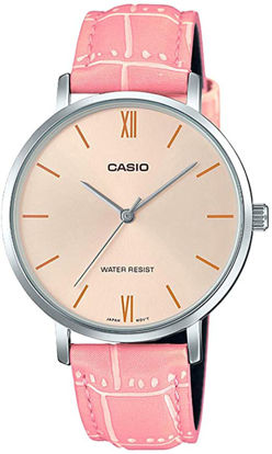 Picture of Casio LTP-VT01L-4B Women's Minimalistic Peach Dial Pink Leather Band Analog Watch