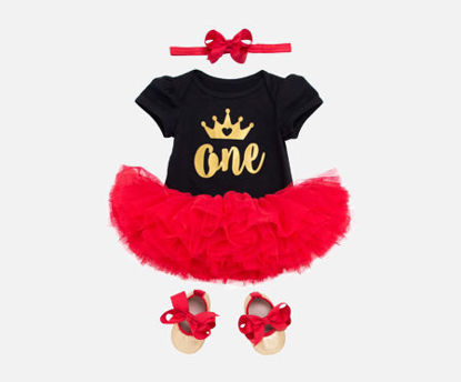 Picture of 4 Pcs Baby Girl's Skirt Set Short Sleeve Romper Tutu Skirt Decor Bowknot Headband Shoes Baby Clothes