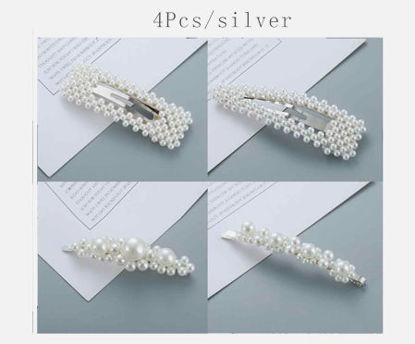 Picture of 4 Pcs Women's Hair Clips Imitation Pearl Ladylike Fashion Hair Accessory