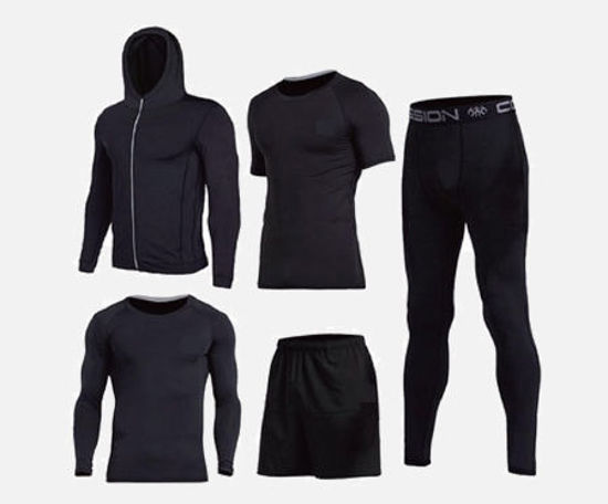 Picture of 5Pcs Men's Training Sets Quick Drying Breathable Comfy Running Sports Set - Size: XXL