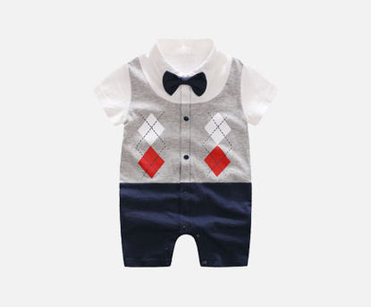 Picture of Baby Boy's Rompers Short Sleeve Bowknot Decor Print Baby Wear