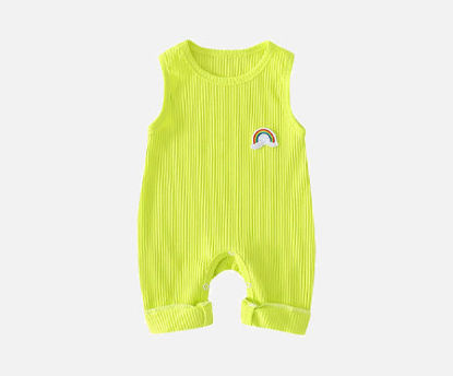 Picture of Babies Romper Solid Color Comfortable Sleeveless O Neck Clothing