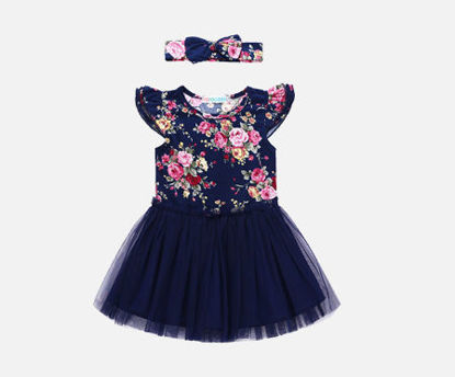 Picture of Baby's Dress Fashion Sweet Hairband Patchwork Floral Gauze Princess Dress