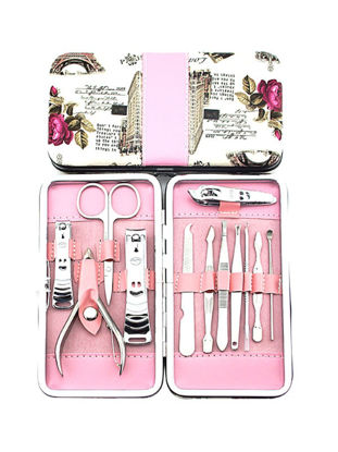 Picture of Stainless Steel Manicure Nail Cleaner And Clipper Set With Pink Case