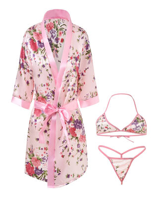 Picture of Women's 3Pcs Nightwear Sexy Lingerie Floral Deep V Short Robe With Halterneck Bra Set - Free