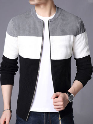 Picture of Men's Cardigan Slim Color Block All Match Casual Knitwear - XXL