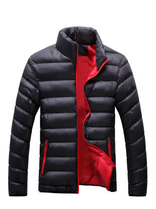Picture of Men's Quilted Coat Solid Color Stand Collar Zipper Coat - M