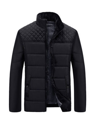 Picture of Men's Quilted Coat Solid Color All March Fashionable Casual Coat - XXL