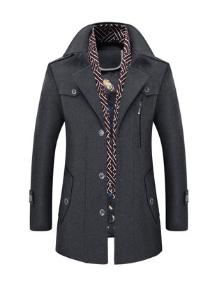 Picture of Men's Wool Blends Coat Solid Color Single Breasted Slim Coat - XL