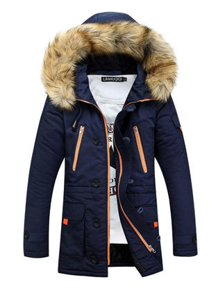 Picture of Men's Quilted Coat Plush Hooded Fashionable Casual Coat - XL