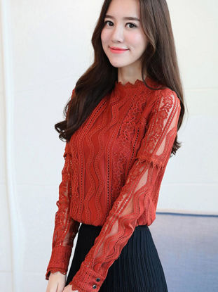 Picture of Women's Shirt Solid Color Long Sleeve O Neck Lace Patchwork Slim Plus Size Shirt - XL